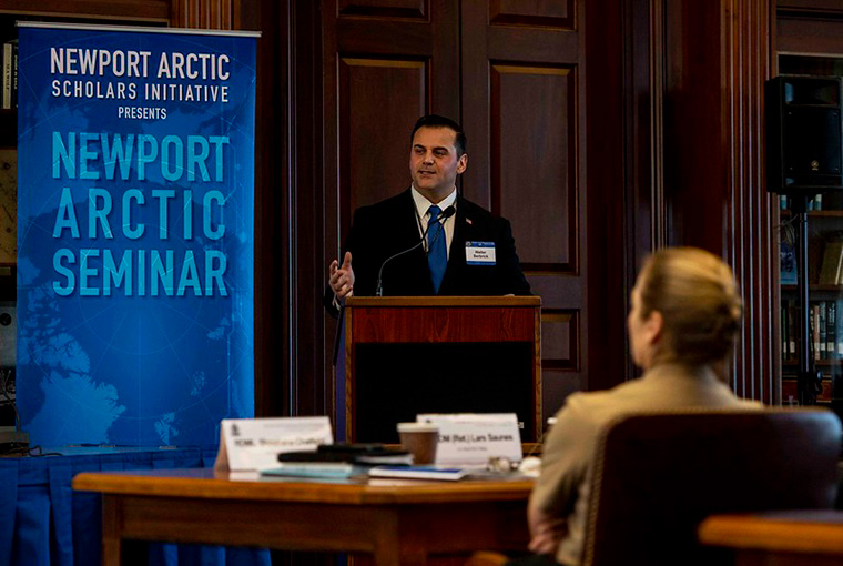 Walter Berbrick, associate professor at the U.S. Naval War College (NWC) and co-lead scholar of the Newport Arctic Scholars Initiative, gives the keynote address at the Newport Arctic Seminar at NWC, Jan. 22.