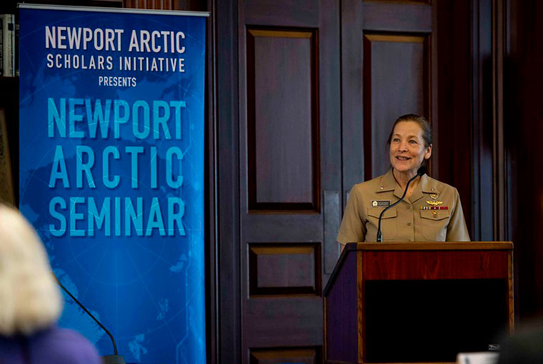 Rear Adm. Shoshana S. Chatfield, president of the U.S. Naval War College, gives the opening remarks at the Newport Arctic Seminar at NWC, Jan. 22.
