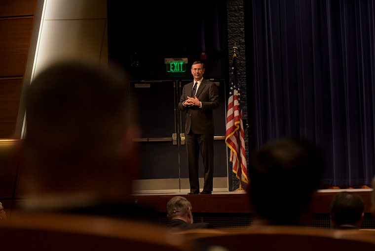 The Navy's Chief Learning Officer John Kroger spoke to U.S. Naval War College faculty and staff in the college's Spruance Auditorium, Feb. 27.