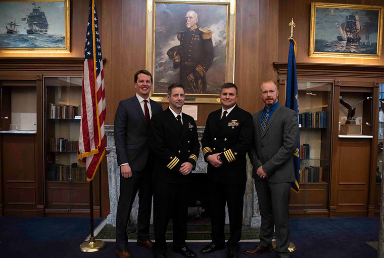 Cmdr. Maxwell Oliver and Capt. Michael Rak are awarded the first U.S. Naval War College Graduate Certificates in Maritime History.