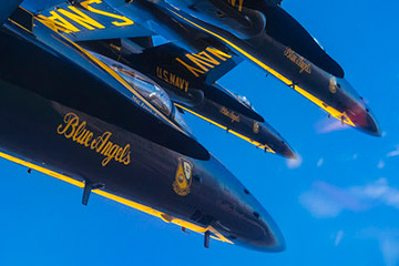 Pilots assigned to the U.S. Navy flight demonstration squadron, the Blue Angels, take part in a training flight at Naval Air Facility El Centro.