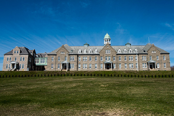 U.S. Naval War College's Luce Hall on Coasters Harbor Island in Newport, Rhode Island.