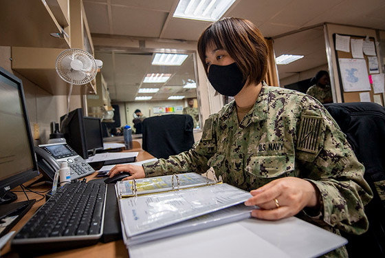 Logistics Specialist 3rd Class Jie Du, from Columbus, Ohio, works in the supply office aboard the hospital ship USNS Mercy (T-AH 19).