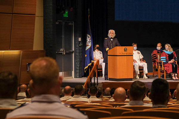 Cmdr. Ty Lemerande, U.S. Naval War College (NWC), portrays Rear Adm. Stephen B. Luce, first president of NWC and provides remarks at the 2021-2022 academic year convocation ceremonies, August 4, 2021.