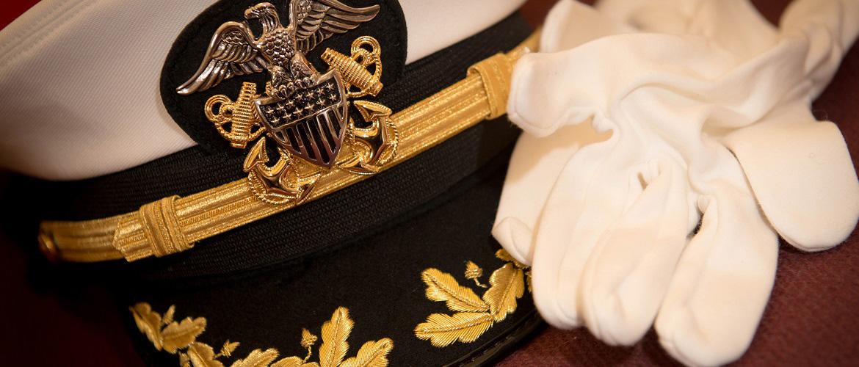 U.S. Naval War College cap and gloves