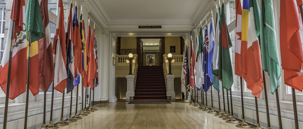 Pringle Hall with international flags