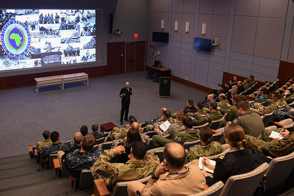 Vice Adm. Michael T. Franken, deputy to the commander for military operations, U.S. Africa Command, addresses students, staff and faculty from U.S. Naval War College's Maritime Advanced Warfighting School in Newport, Rhode Island.