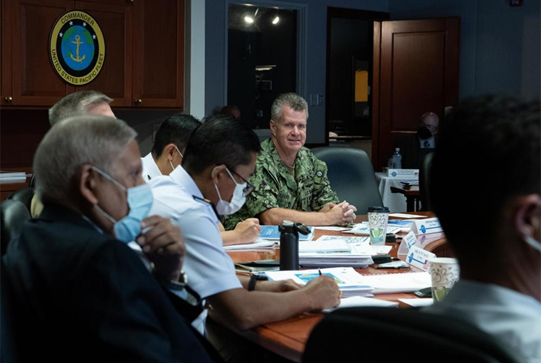 Adm. Samuel Paparo, commander, U.S. Pacific Fleet, speaks to attendees of the Combined Force Maritime Component Commander Flag Officer Course.