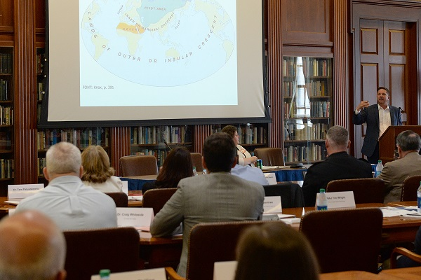 Peter Dutton, director of the China Maritime Studies Institute at U.S. Naval War College (NWC), speaks to participants of the 2016 Center on Irregular Warfare and Armed Groups Symposium at NWC in Newport, Rhode Island.