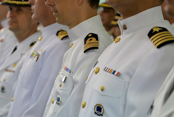 Students of U.S. Naval War College's (NWC) 2017 graduating class participate in a commencement ceremony at NWC in Newport, Rhode Island.