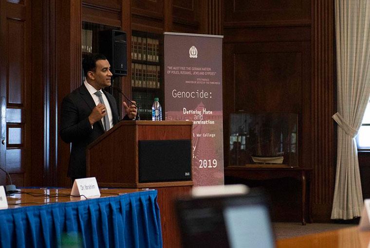 Azeem Ibrahim, professor at the U.S. Army War College, delivers a keynote address