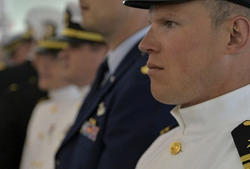 Students of U.S. Naval War College's 2017 graduating class participate in a commencement ceremony.