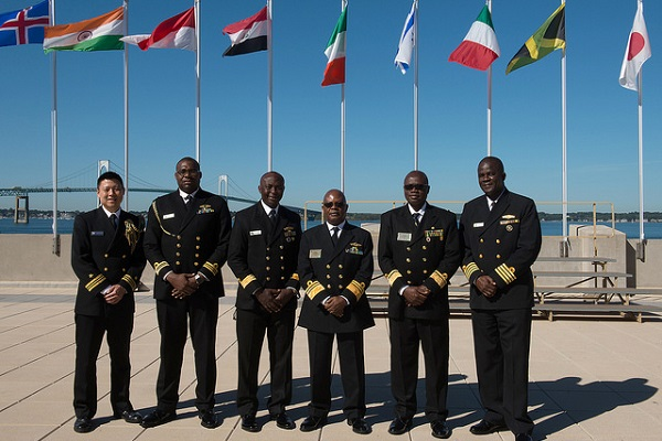 Attendees pose for a photograph during the Chief of Naval Operation's 22nd International Seapower Symposium (ISS) at U.S. Naval War College in Newport, Rhode Island.