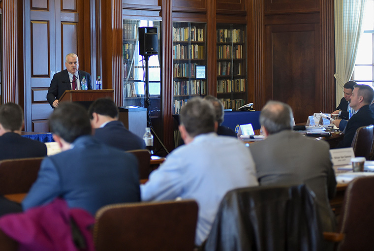 Michael Marx, senior civil-military coordination advisor, United Nations Office for the Coordination of Humanitarian Affairs, provides remarks during the Civilian-Military Humanitarian Response Workshop held at U.S. Naval War College in Newport, Rhode Island.