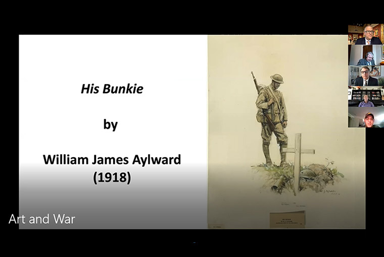 "In a May 7 online seminar, Army Capt. Jesse Edwards discusses ""His Bunkie,"" a drawing by World War I artist William James Aylward."