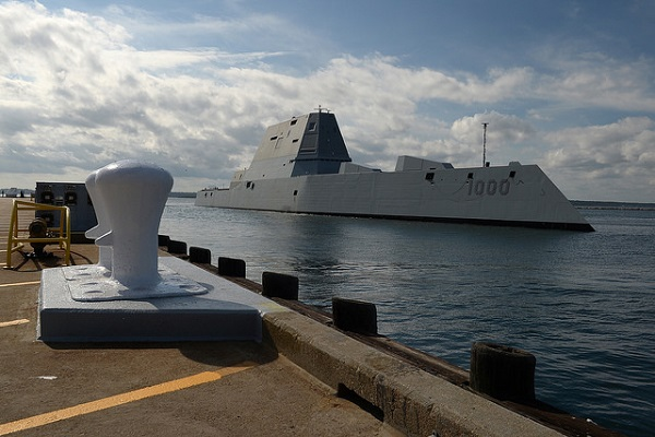 The guided-missile destroyer Pre-Commissioning Unit (PCU) Zumwalt (DDG 1000) arrives at Naval Station Newport, Rhode Island during its maiden voyage from Bath Iron Works Shipyard in Bath, Maine.