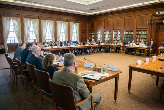 "Attendees participate in a panel discussion during the ""Military Innovation and the New Presidential Administration: Lessons from the Past, Solutions for the Future"" workshop held at the U.S. Naval War College in Newport, R.I. March 30, 2017."