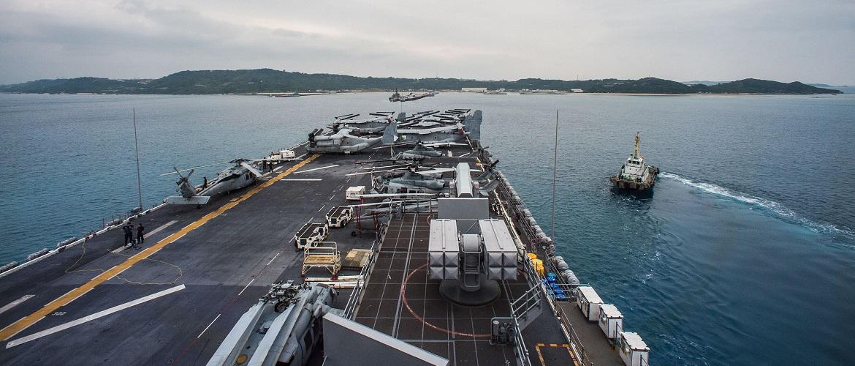 he forward-deployed amphibious assault ship USS Bonhomme Richard (LHD 6) arrives at White Beach Naval Facility, Okinawa.