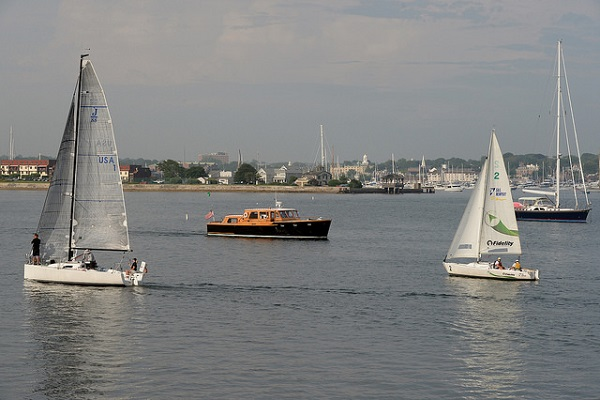 The U.S. Naval War College (NWC) command cutter transits the Newport harbor in Newport, Rhode Island.