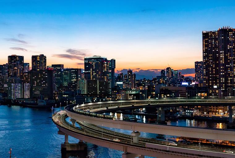 Rainbow Bridge in Minato, Tokyo, Japan.