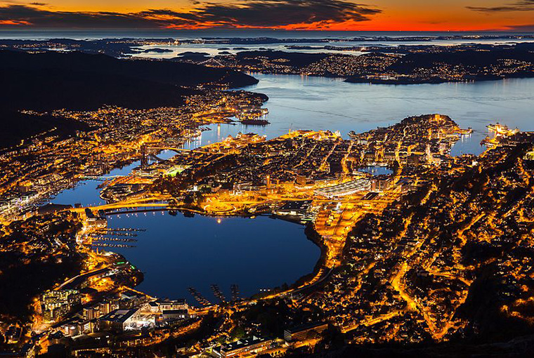 Bergen, Norway in the sunset
