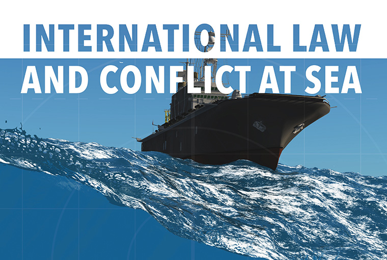 Boat at Sea with title International Law and Conflict at Sea