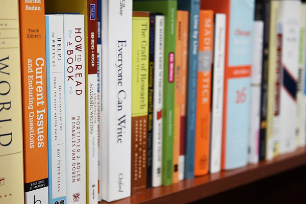 Writing Center shelf with books