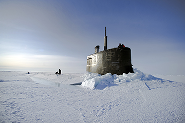 Submarine breaking ice