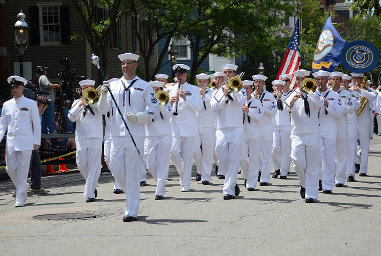 Lead by Musician First Class David Harbuziuk, Navy Band Northeast's Marching Band leads the annual Bunker Hill Parade in Charlestown, MA, in June, 2017.