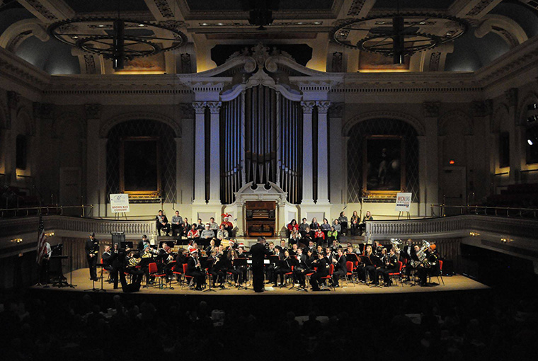 Navy Band Northeast at Mechanics Hall during a past year's performance.