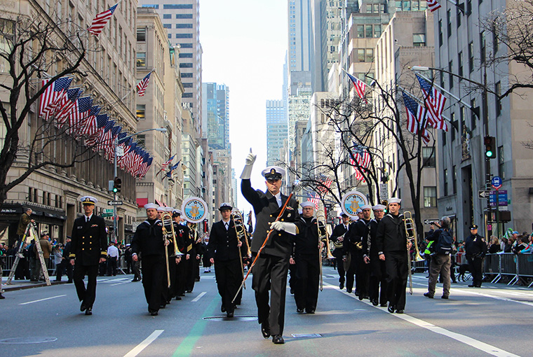 Navy Band Northeast marches up Fifth Avenue during the 255th St. Patrick's Day Parade in New York City.