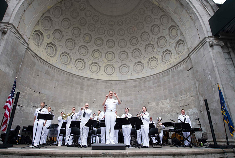 Navy Band Northeast's Pops Ensemble performs at the Naumburg Bandshell in May, 2017 in support of Fleet Week New York.