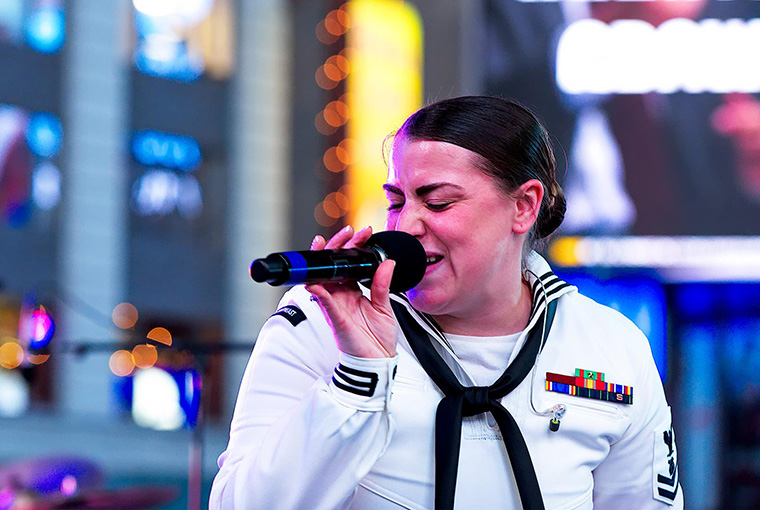 Rhode Island Sound, Navy Band Northeast's Rock Band, during a concert in Times Square