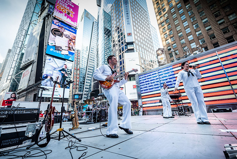 Navy Band Northeast's rock band, Rhode Island Sound, performs in Times Square in support of Fleet Week New York, 2019.