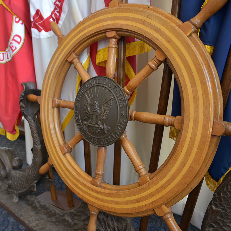 Ships steering wheel at the U.S. Naval War College.