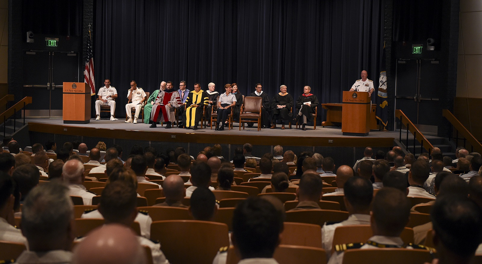 Rear Adm. Jeffrey A. Harley, president, U.S. Naval War College (NWC), addresses students, staff, faculty and guests during a convocation ceremony kicking off the 2017-2018 academic year.