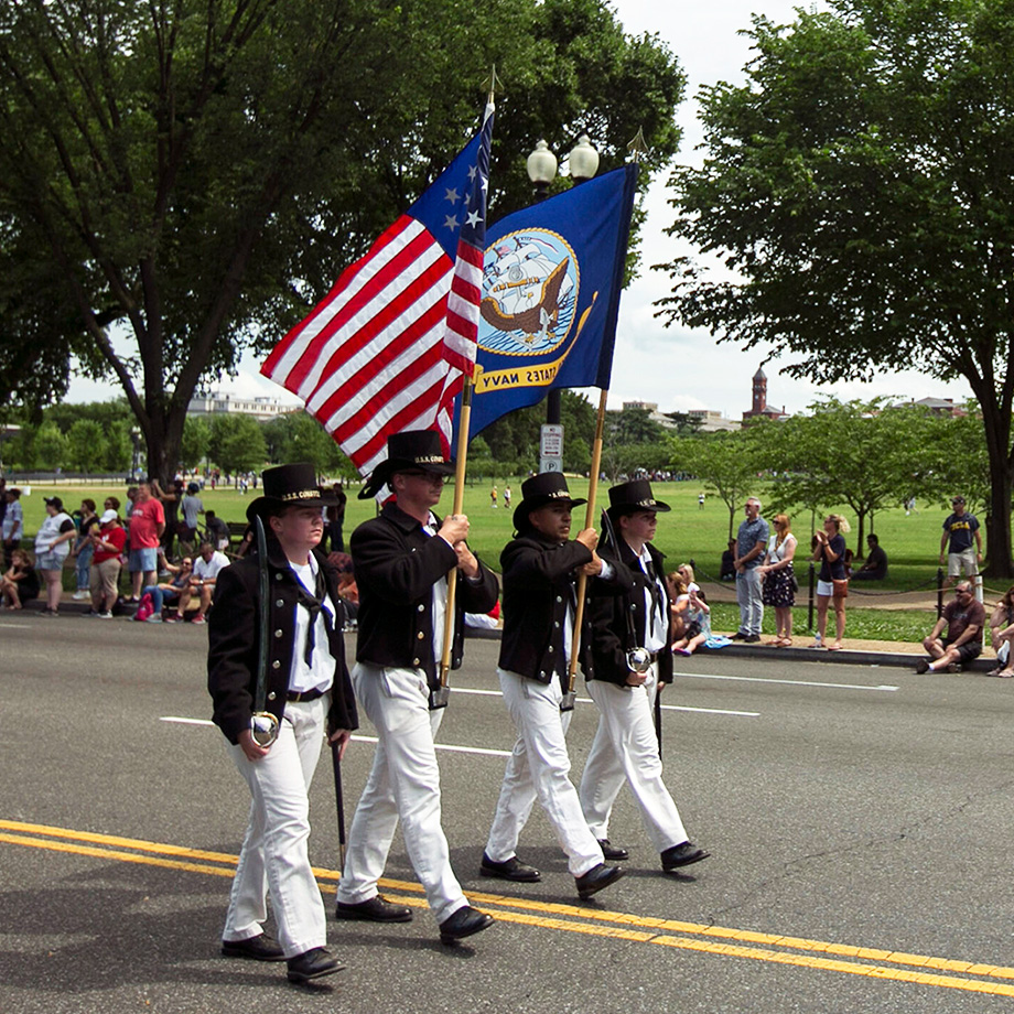 Sailors from USS Constitution march as color guard during the National Memorial Day Parade in Washington D.C. The National Memorial Day Parade shares the story of American honor and sacrifice from across the generations.