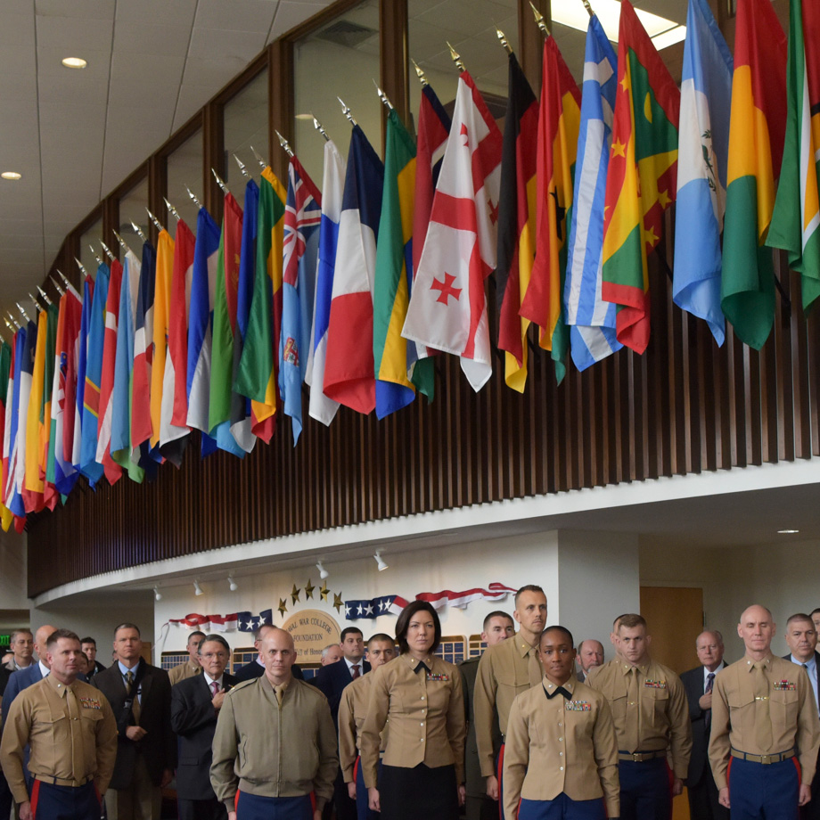 U.S. Naval War College celebrated the U.S. Marine Corps 244th birthday in Spruance lobby, Nov. 6.