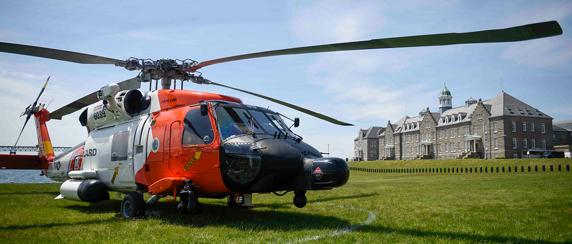 An MH-60T Jayhawk helicopter flight crew from U.S. Coast Guard Air Station Cape Cod (ASCC) pay a visit to U.S. Naval War College (NWC) Naval Command College (NCC) and Naval Staff College (NSC) students, June 2, 2021.