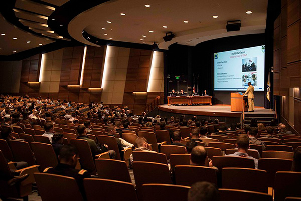 U.S. Naval War College students in the National Security Affairs Department participate in the Theater Security Decision Making (TSDM) Final Exercise in Spruance auditorium Nov. 6.