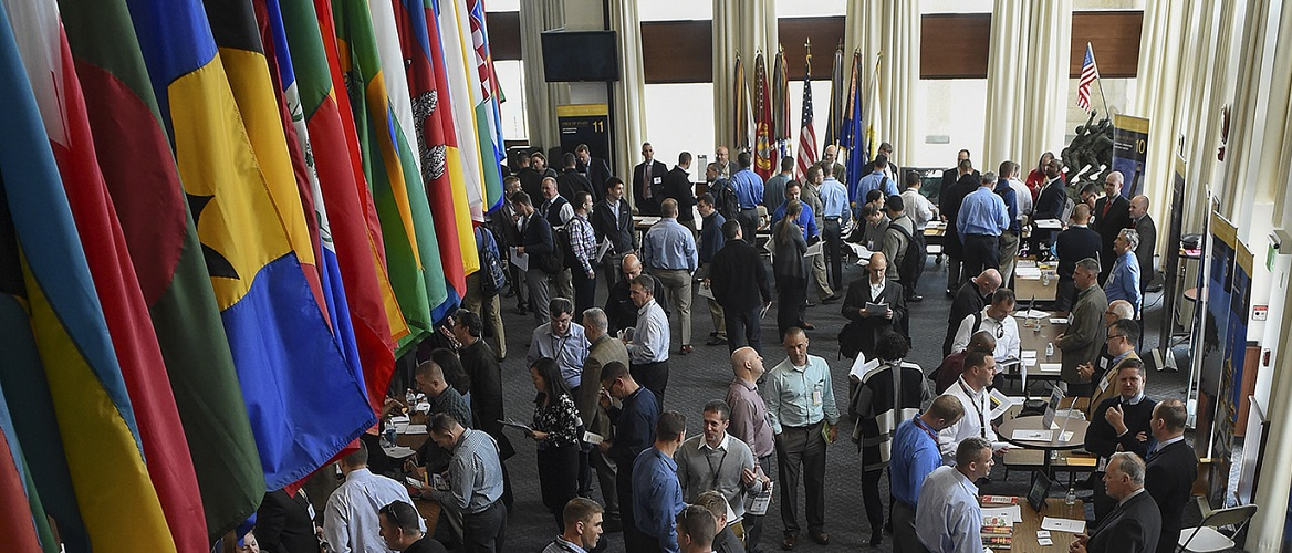 U.S. Naval War College (NWC) students participate in an electives fair held in NWC's Spruance lobby.