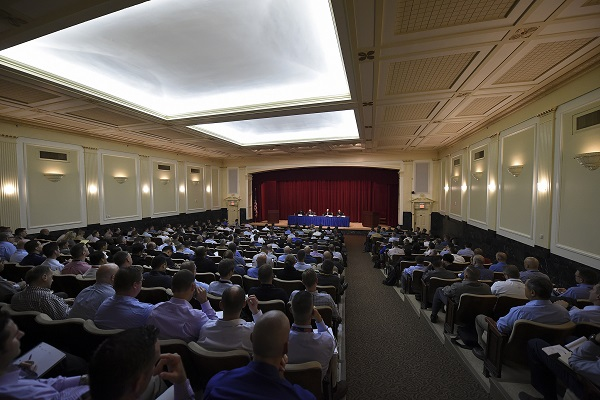 U.S. Naval War College (NWC) students in the Joint Military Operations department participate in a Capstone Synthesis Event held at NWCâs Pringle auditorium in Newport, Rhode Island.