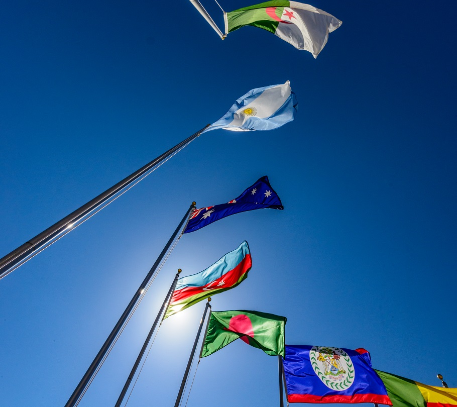International flags at Naval War College