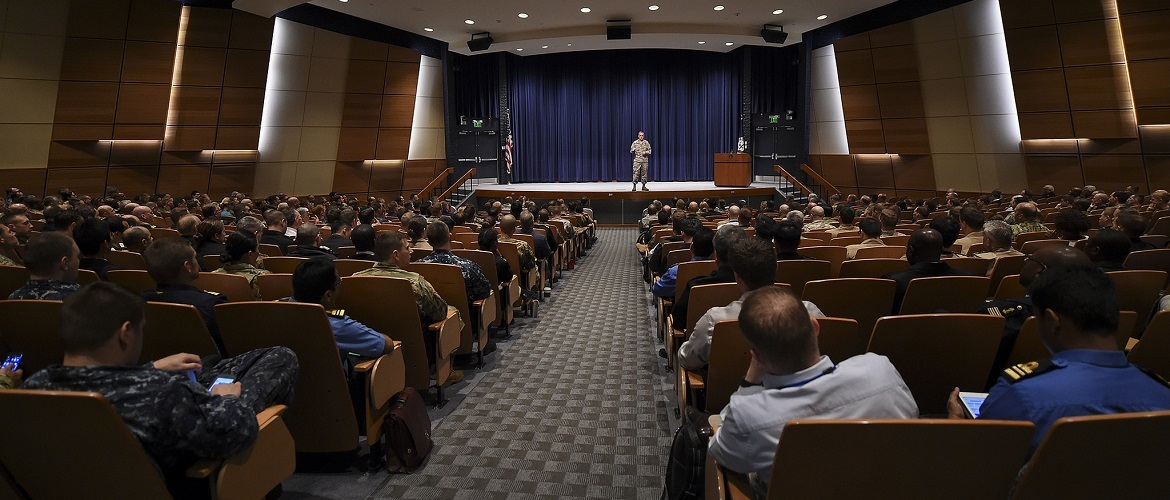 U.S. Air Force Gen. John E. Hyten, commander of U.S. Strategic Command (USSTRATCOM), addresses U.S. Naval War College (NWC) students on the role of USSTRATCOM and 21st century deterrence during a visit to NWC in Newport, Rhode Island.