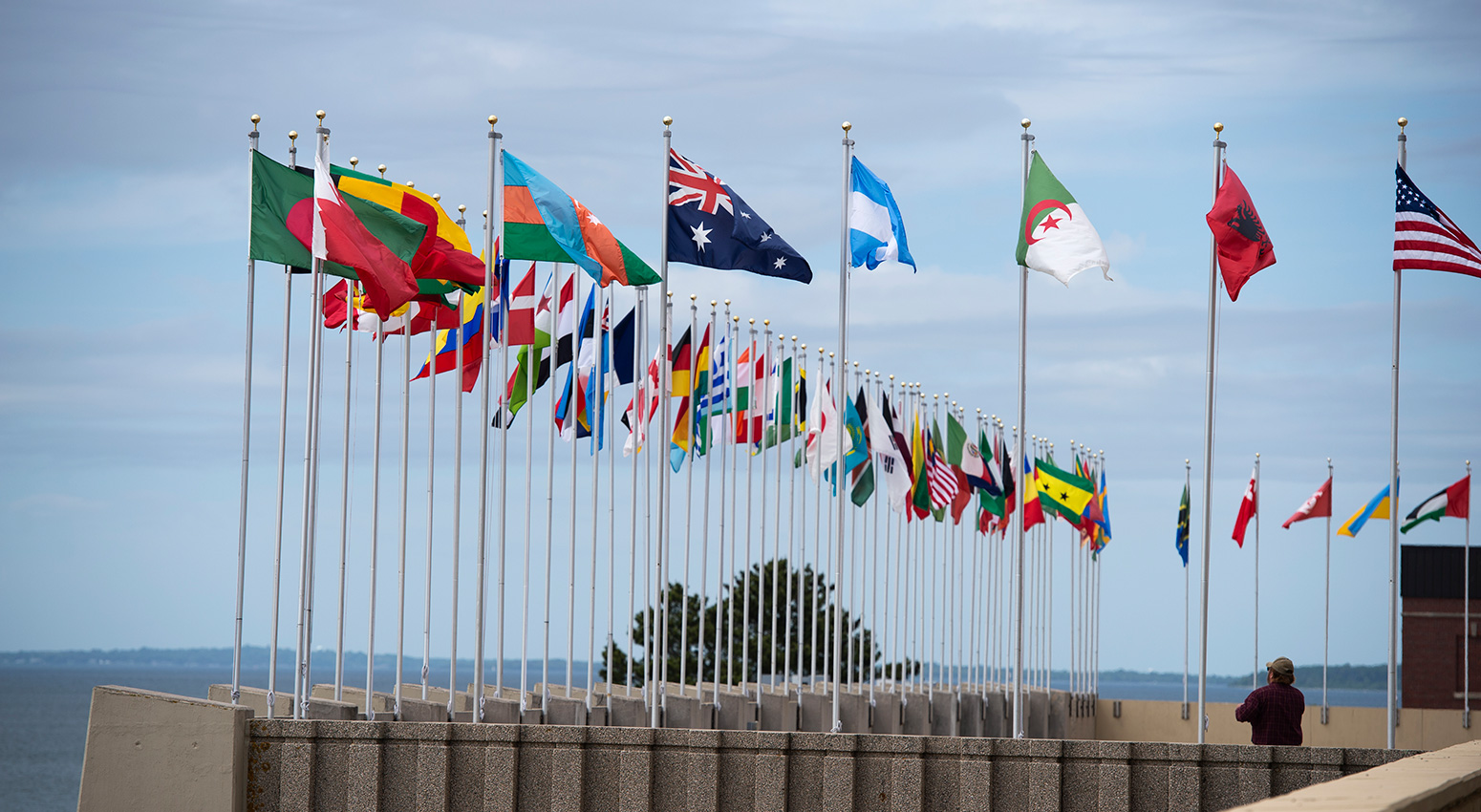 Outside plaza with International flags at the U.S. Naval War College.