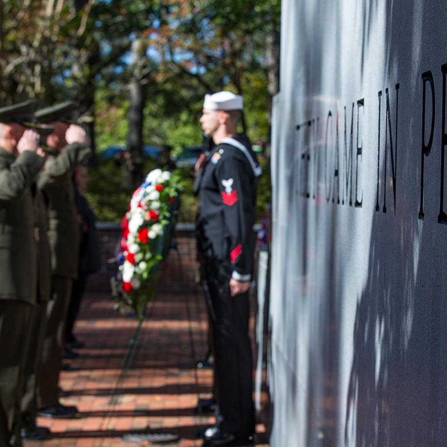 Service members and distinguished guests participate in the 36th Beirut Memorial Observance Ceremony at Lejeune Memorial Gardens in Jacksonville, North Carolina, Oct. 23, 2019.