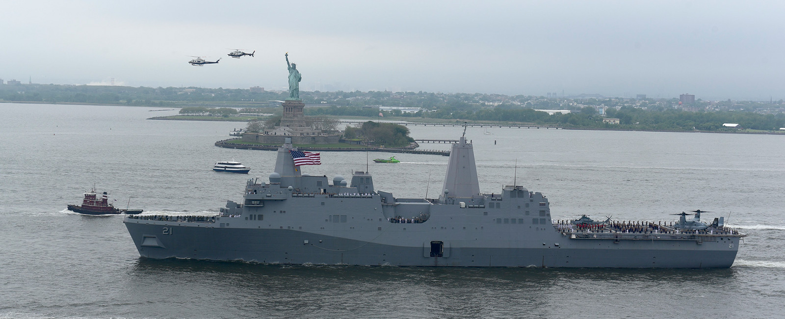 The amphibious transport dock ship USS New York (LPD 21) departs New York Harbor at the conclusion of Fleet Week New York 2019. Fleet Week New York, now in its 31st year, is the city's time-honored celebration of the sea services.
