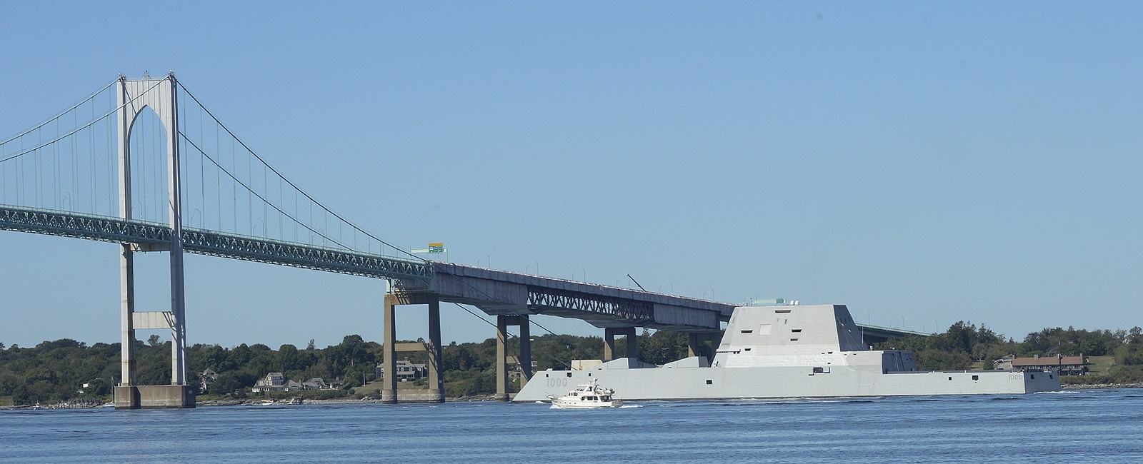 The guided-missile destroyer Pre-Commissioning Unit (PCU) Zumwalt (DDG 1000) departs from Naval Station Newport, Rhode Island following its maiden voyage from Bath Iron Works Shipyard in Bath, Maine.