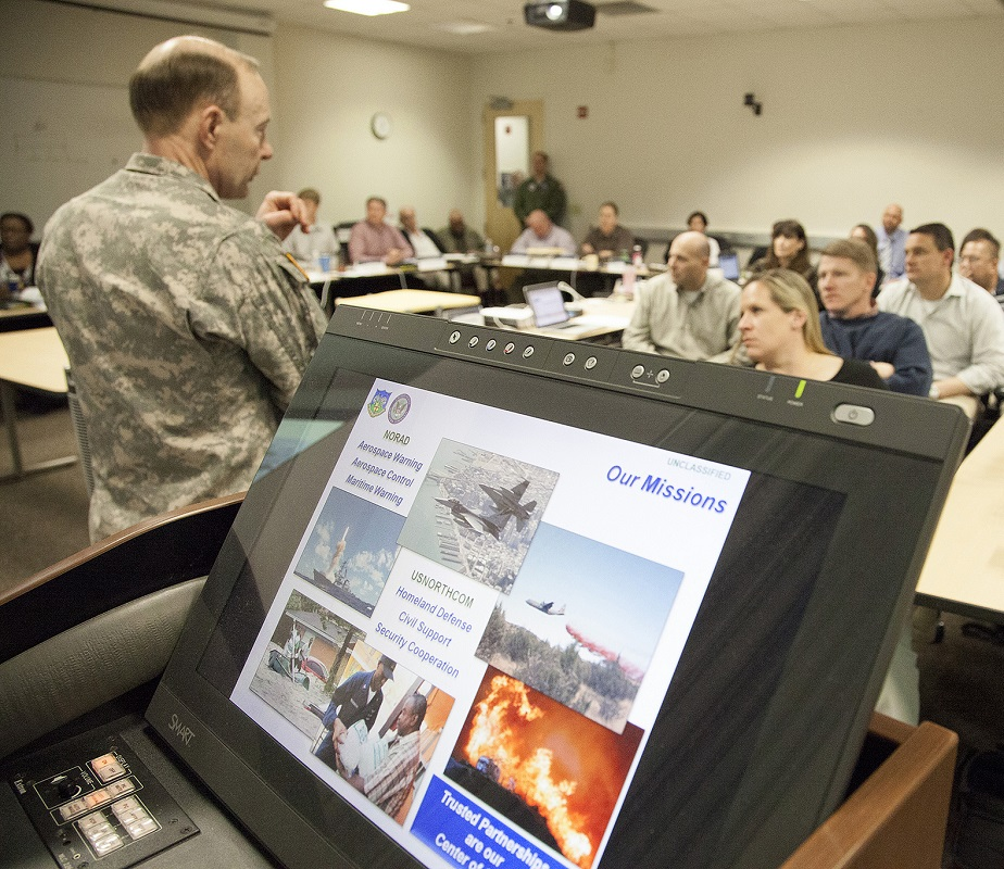 U.S. Army Gen. Charles H. Jacoby Jr., Commander North American Aerospace Defense Command and U.S. Northern Command, talks to students at the Naval Postgraduate School Center for Homeland Defense and Security program.