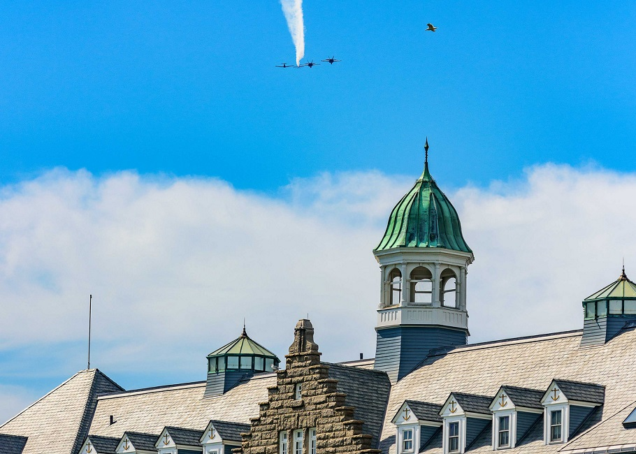 F/A-18 Hornets assigned to Strike Fighter Squadron (VFA) 106 out of Naval Air Station Oceana, Va., conduct a flyover in Newport, Rhode Island.
